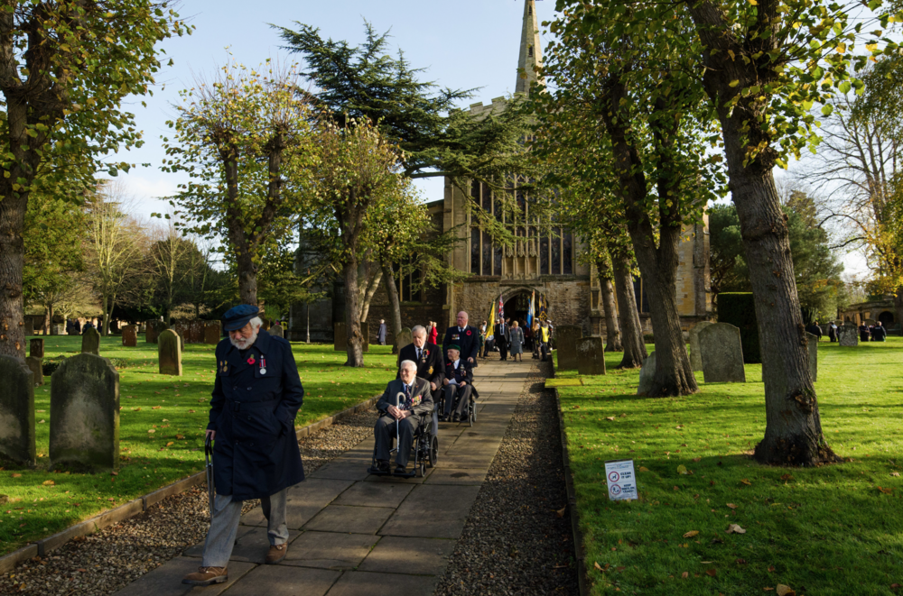 Veterans exit Holy Trinity Church at the end of the remembrance day procession 13/11/2014