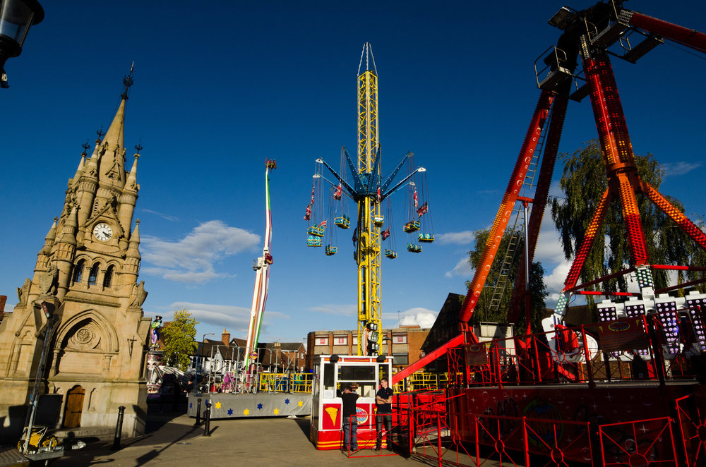 Stratford mop Fair just after they set up by the American Fountain 10/10/2014
