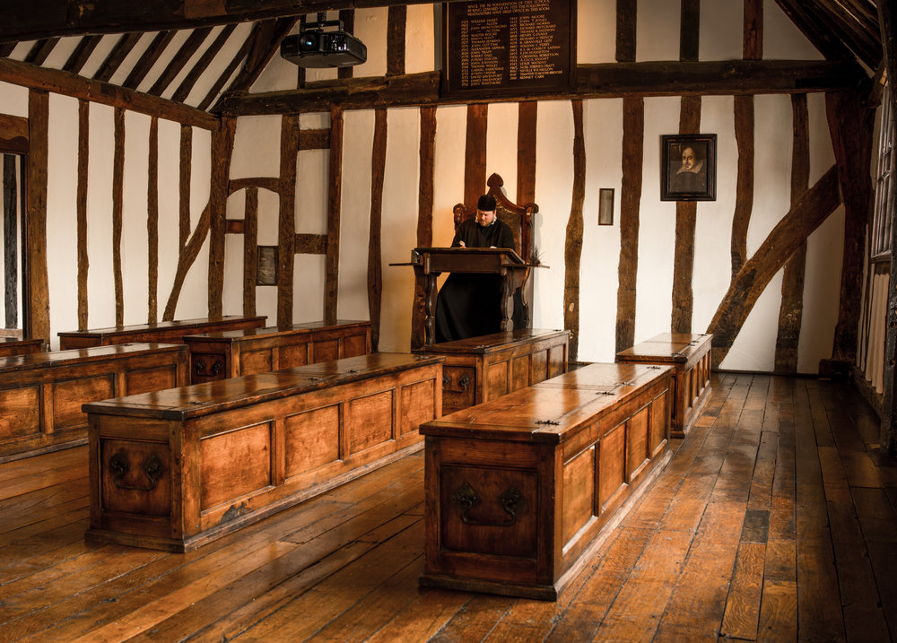 'Shakespeare's Schoolroom' a tourist attraction in the Stratford Guild Hall within King Edward VI School 22/06/2016