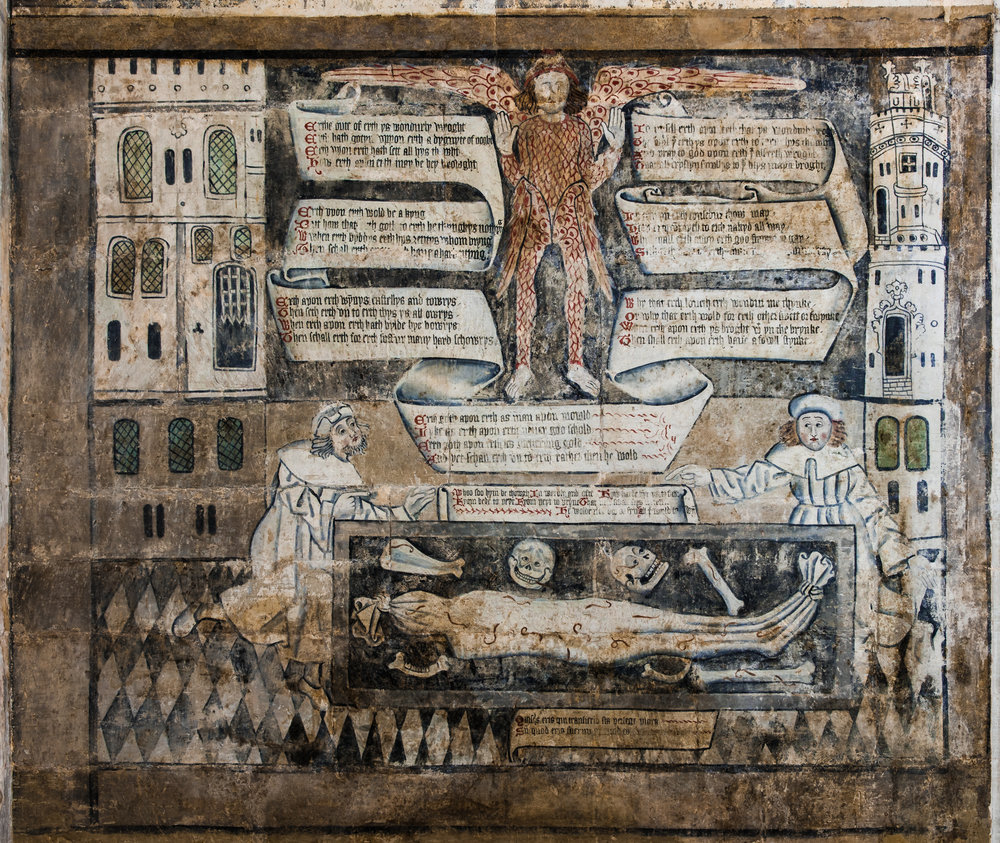Fully uncovered (by the Perry Lithgo Partnership)late 15th century panel from the 'dance of death' series, guild chapel, Stratford-upon-Avon 22/11/2016