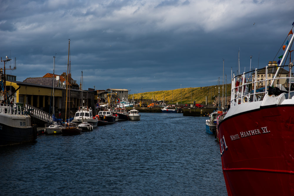 Eyemouth harbour, Scotland. The station's lifeboat can be seen in the center of the image.