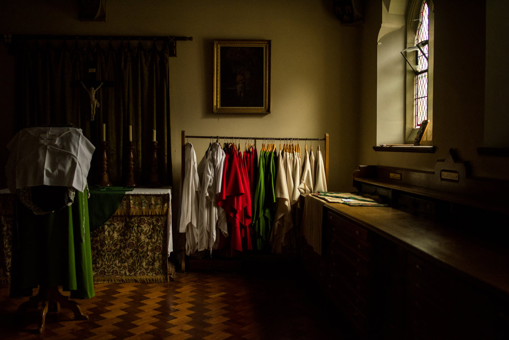 The Church Vestry, a sort of changing room where robes for services are kept