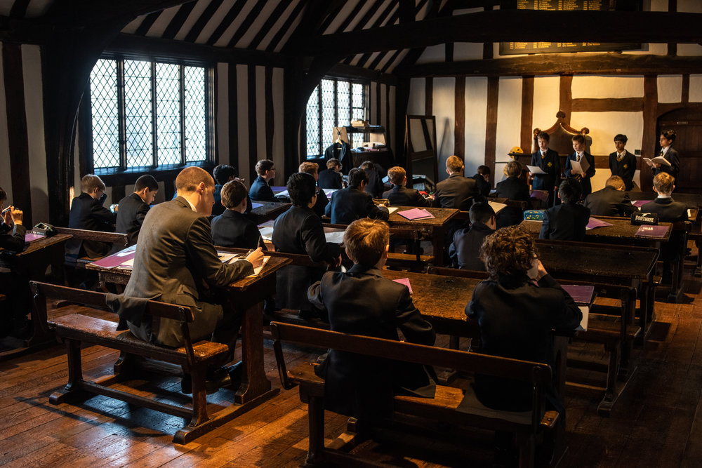 Upstairs from the Guild Hall is Big School where Shakespeare would have learned. Students have always learned here.