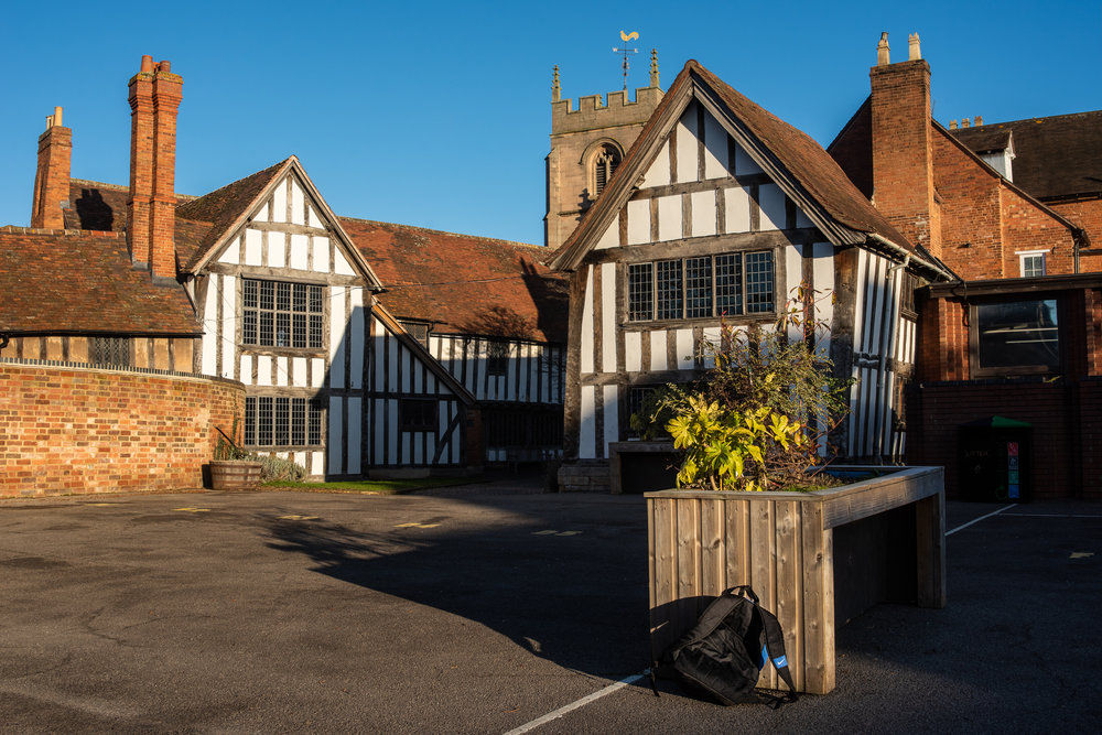 The Guild chapel is surrounded by Shakespeare's school K.E.S (on left is Guild Hall)