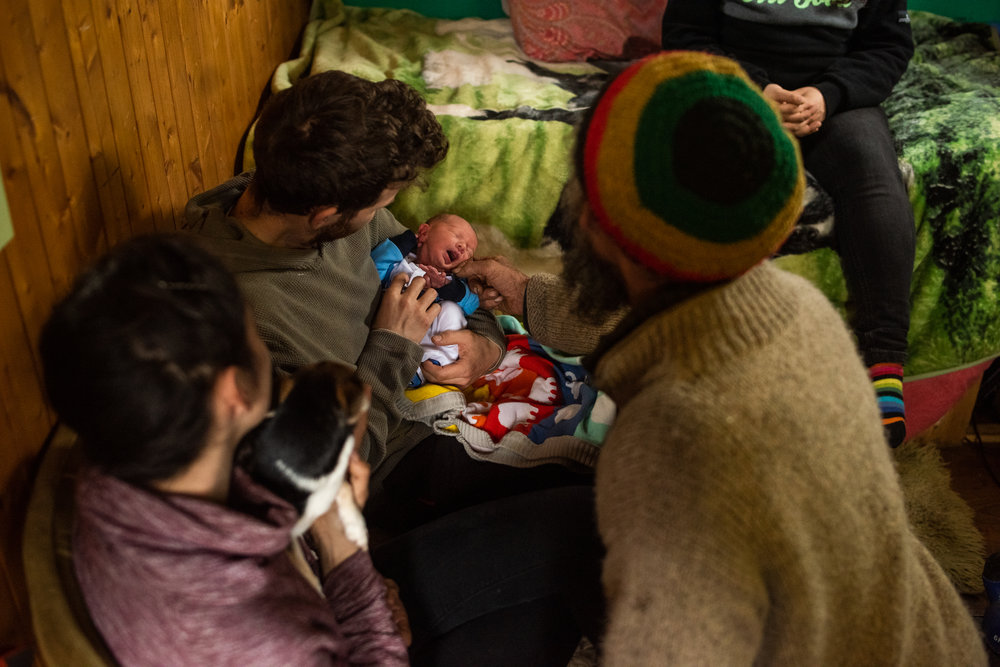 Jordan and Katy bring their 3 day old baby son to meet the family
