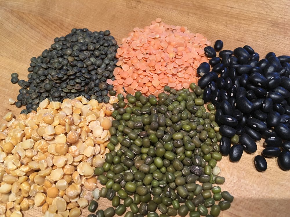 Lovely Legumes! Yellow split peas, French black & red lentils, mung & black beans...
