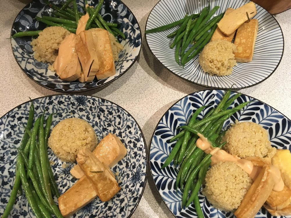 Baked Tofu, Quinoa & Green Beans