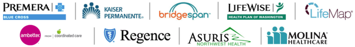 Premera, Bridgespan, LifeWise, LifeMap, Regence, Kaiser, Ambetter Coordinated Care, Molina, Asuris