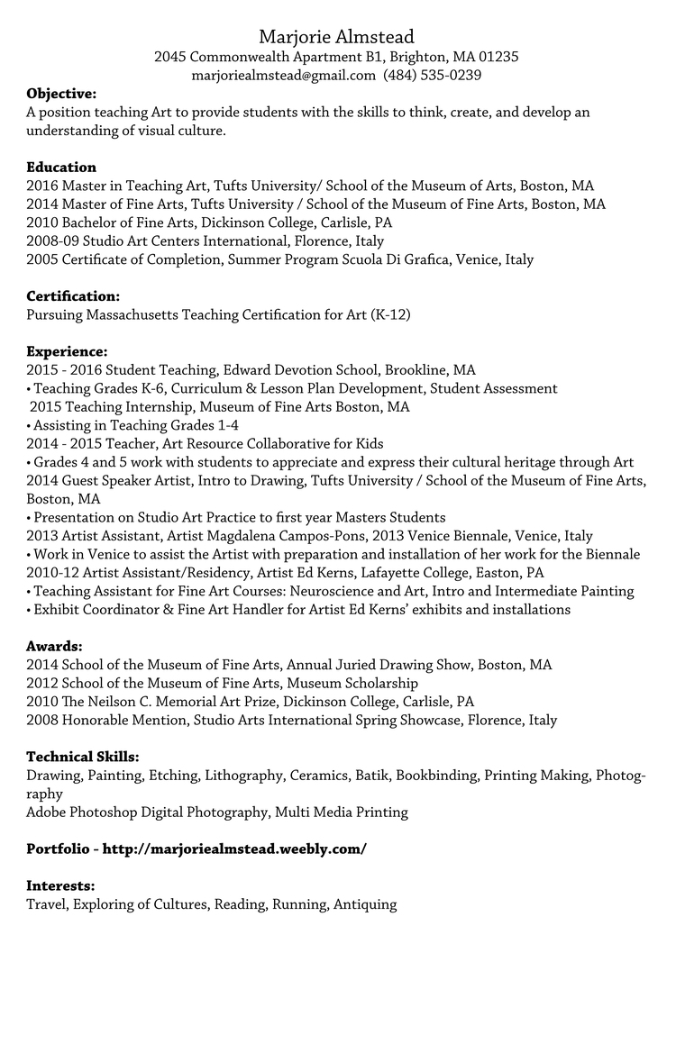 Resume marjorie almstead 1betcityfo Image collections