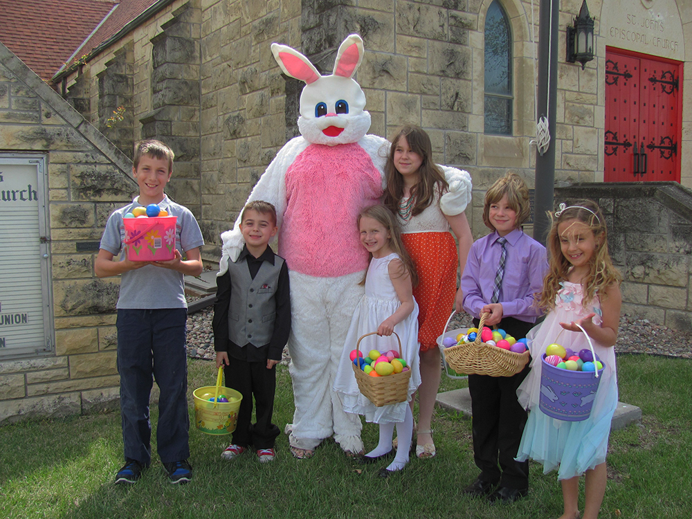 The Easter Bunny AKA Amber Moretti and some little pals on Easter morning.