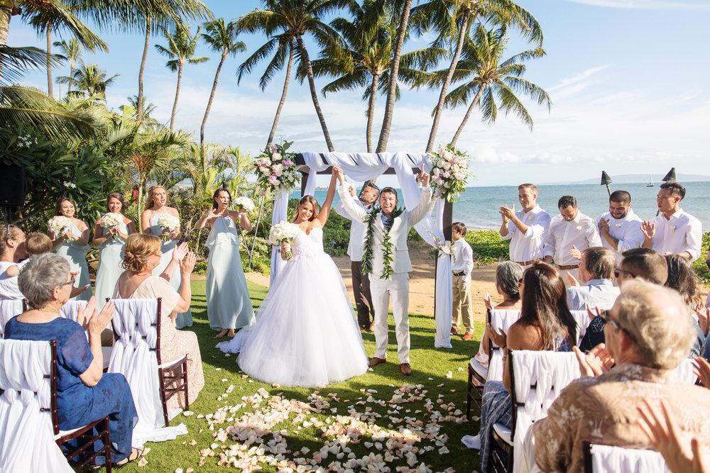 Romantic beach front wedding on Maui