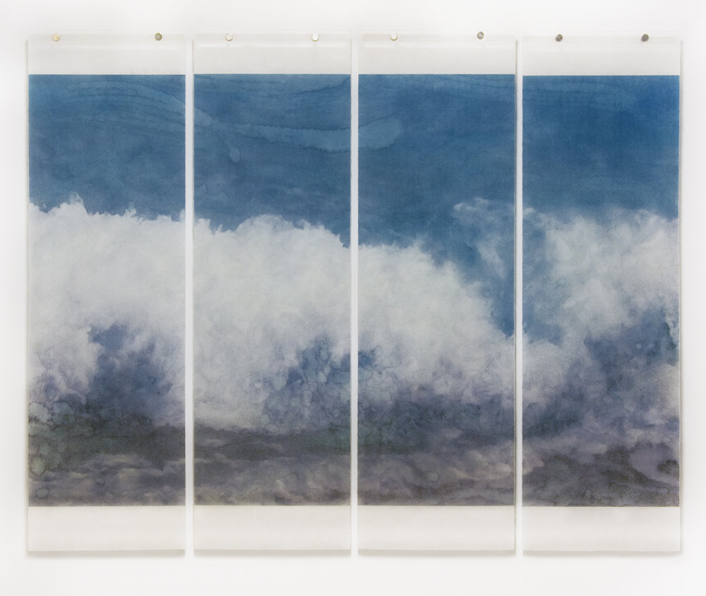 "Warm Waters, No.31,  36"" x 45.5"", pigment ink on Japanese Kozo with encaustic medium"