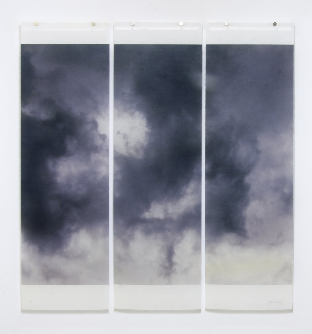 "Songs of the Sky, Revisited, No.7,  36"" x 34"", pigment ink on Japanese Kozo with encaustic medium"