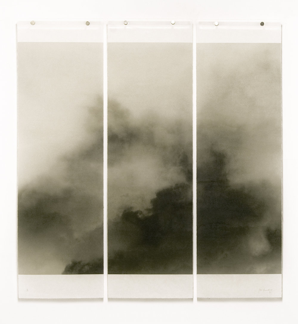 """Songs of the Sky, Revisited, No.1,  36"""" x 34"""", Pigment Ink on Japanese Kozo with Encaustic Medium"""