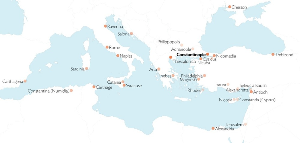 Locations of Byzantine mints in the Mediterranean. Map © Alex Brey.