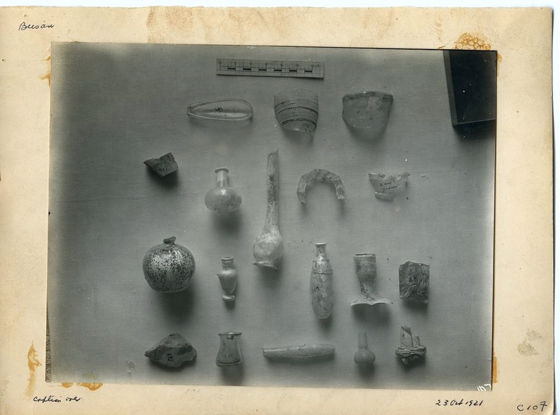 Glass fragments from Tel, Levels I and II.
