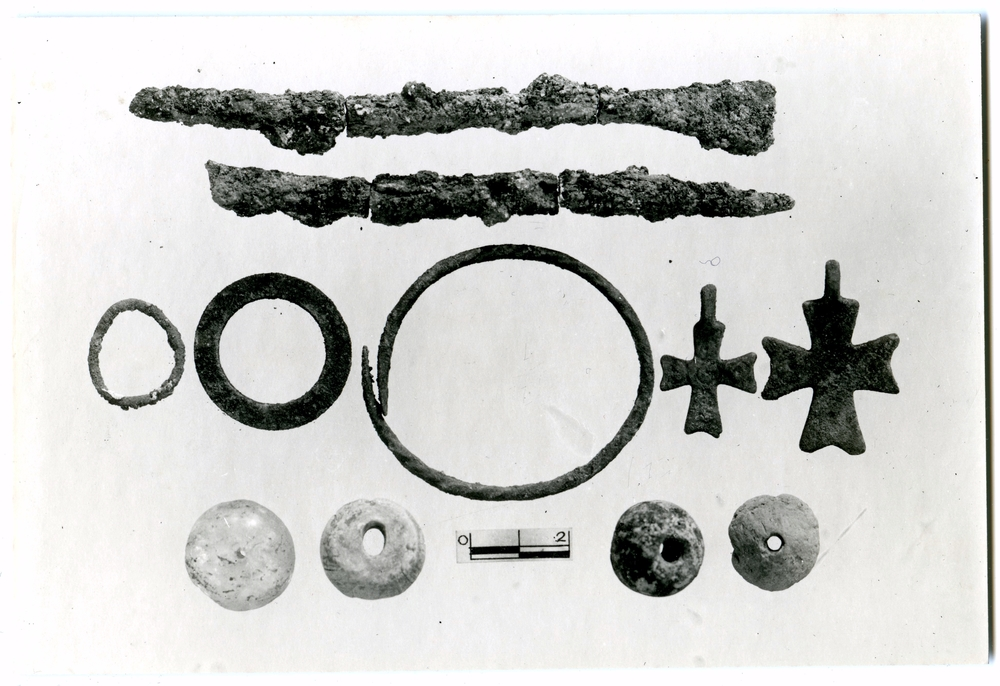 Photograph of small objects found in the Monastery burial.