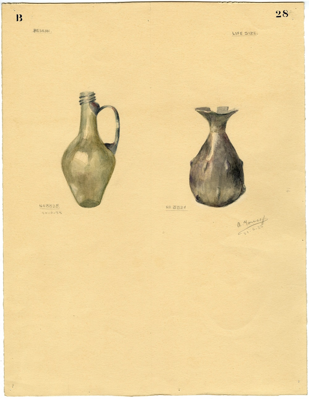 Watercolor of two small glass vessels # 3325 and 3321, from the Fisher excavations.