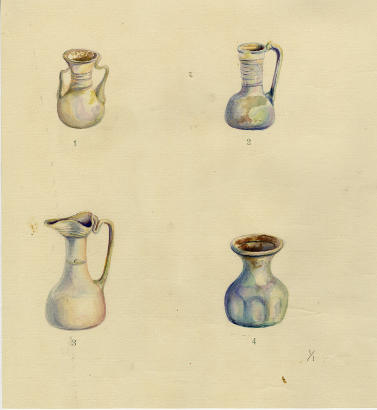 Watercolors of four glass vessels from the Rowe excavation seasons (1925-28).