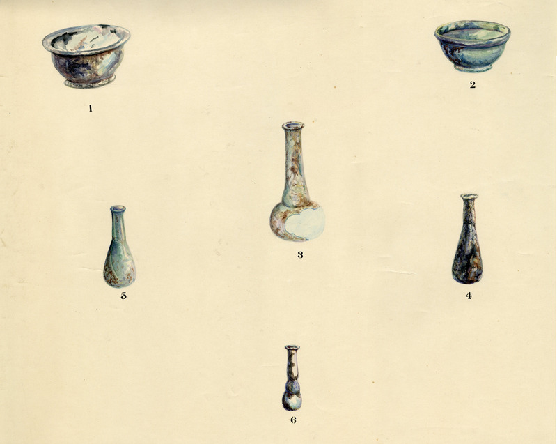 Watercolors of six glass vessels from the Rowe excavation seasons (1925-28).