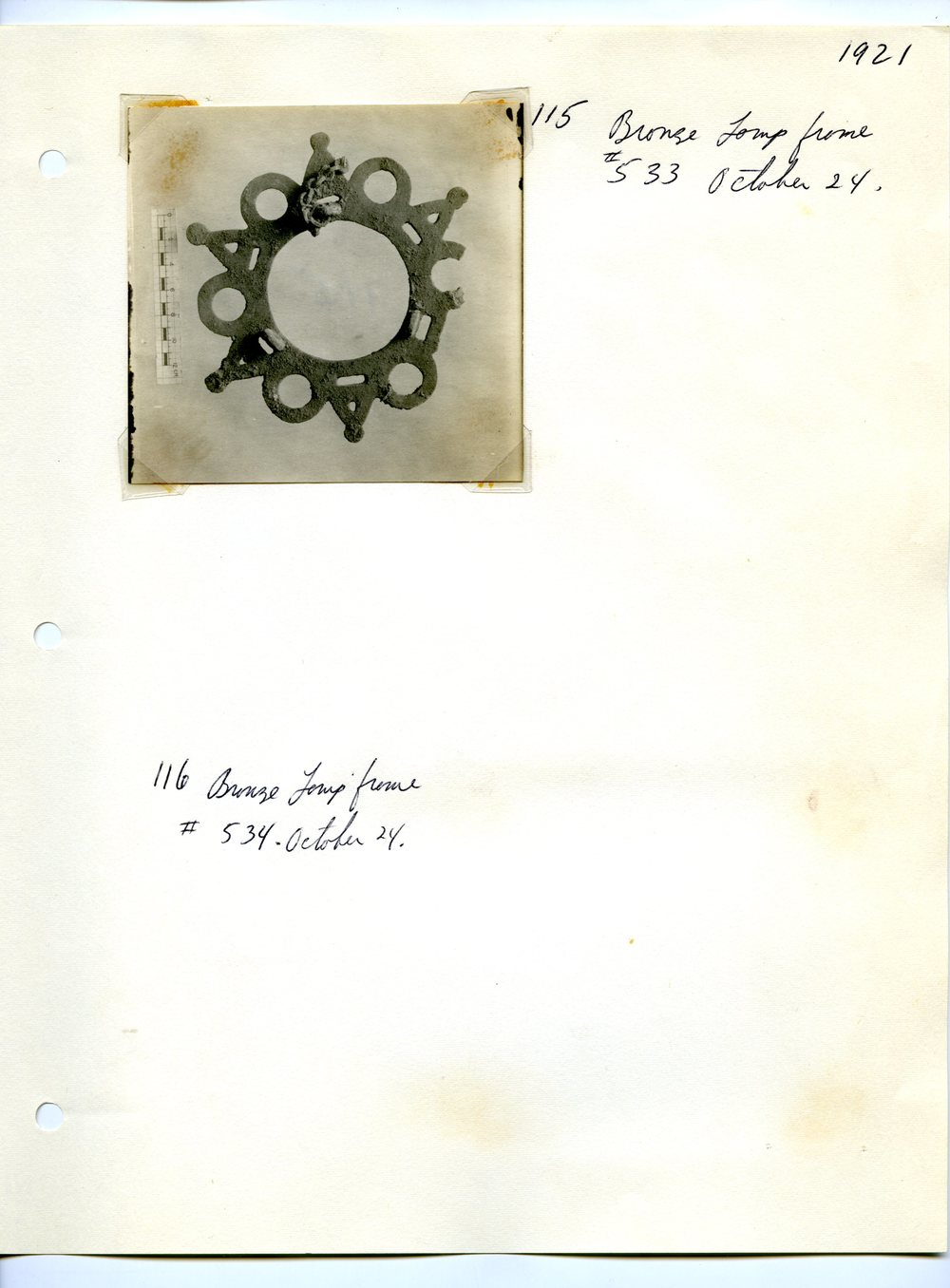 Excavation Notes and Photograph of a Polycandelon