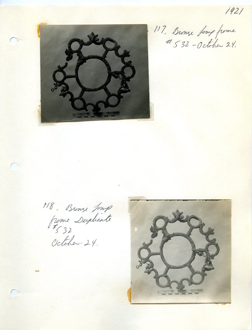 Excavation Notes and Photographs of Two Polycandela