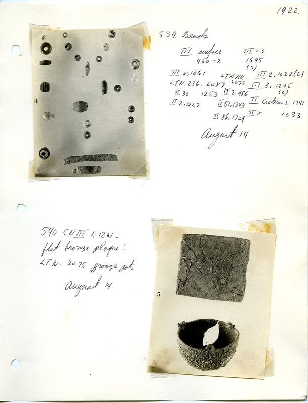 Excavation Notes and Photograph of a Censer
