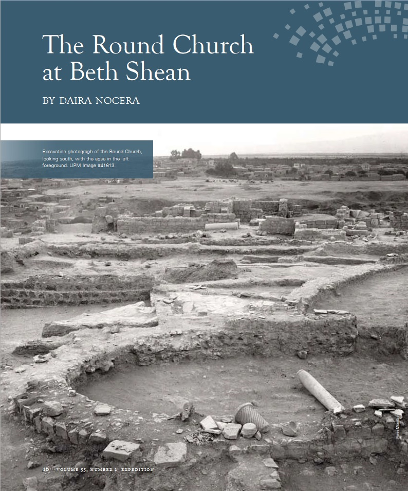 "Daira Nocera, ""The Round Church at Beth Shean,"" Expedition 55, no. 1 (2013): 16-20."