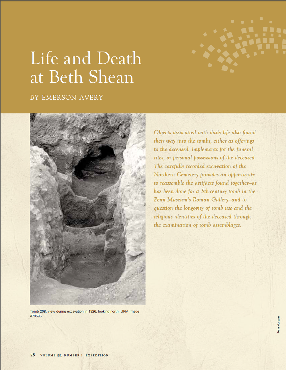 "Emerson Avery, ""Life and Death at Beth Shean,"" Expedition 55, no. 1 (2013): 28-32."