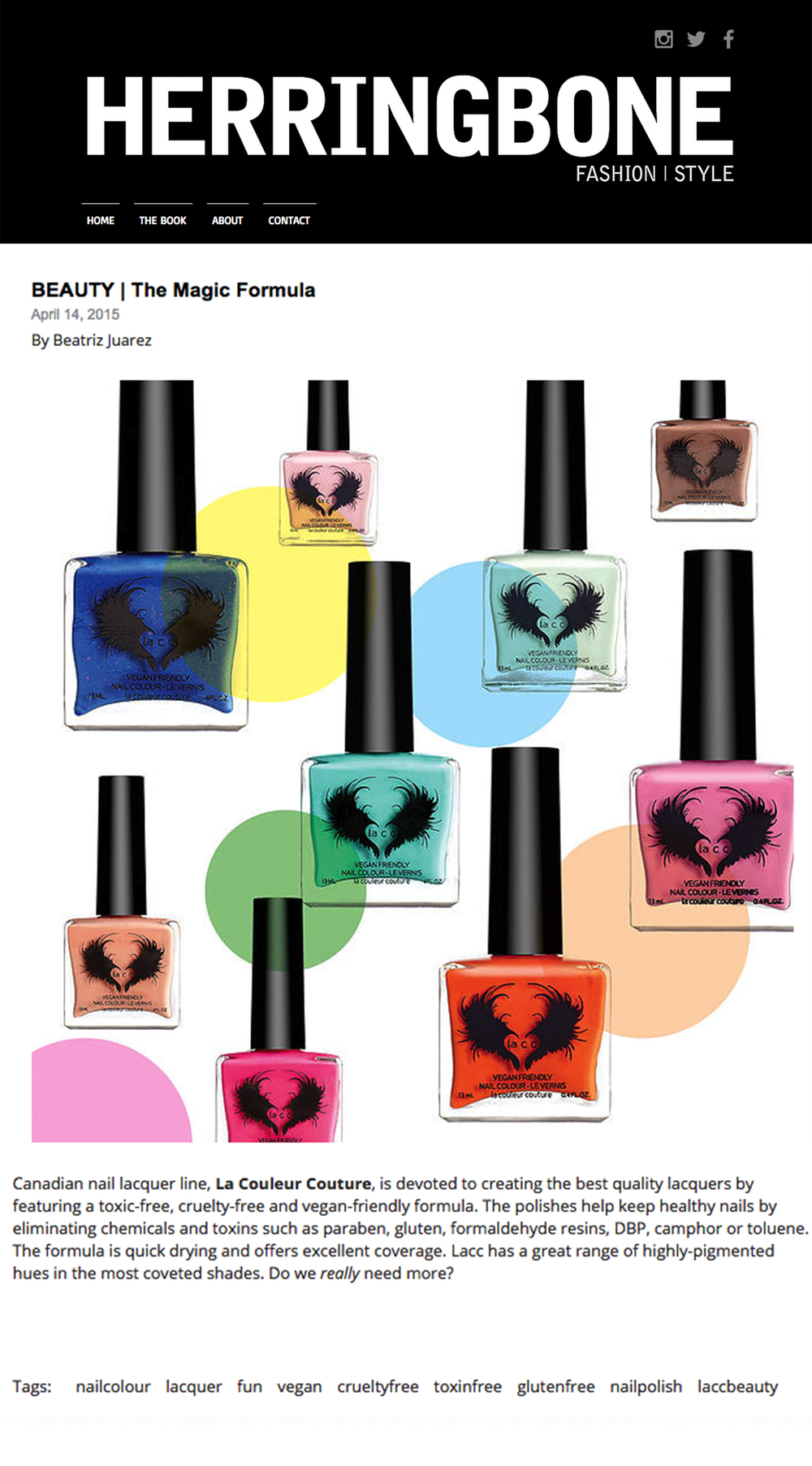 Herringbone Magazine — la couleur couture: 12-free vegan nail polish
