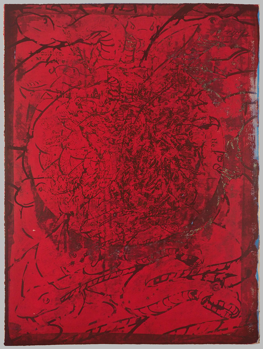 "He blushed scarlet as he thought of her laughing up her sleeve (front)   30""x22"", screenprint and pochoir on paper"