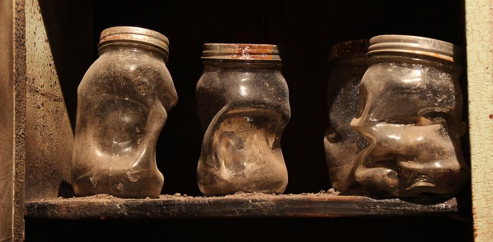 hot worked glass mason jars