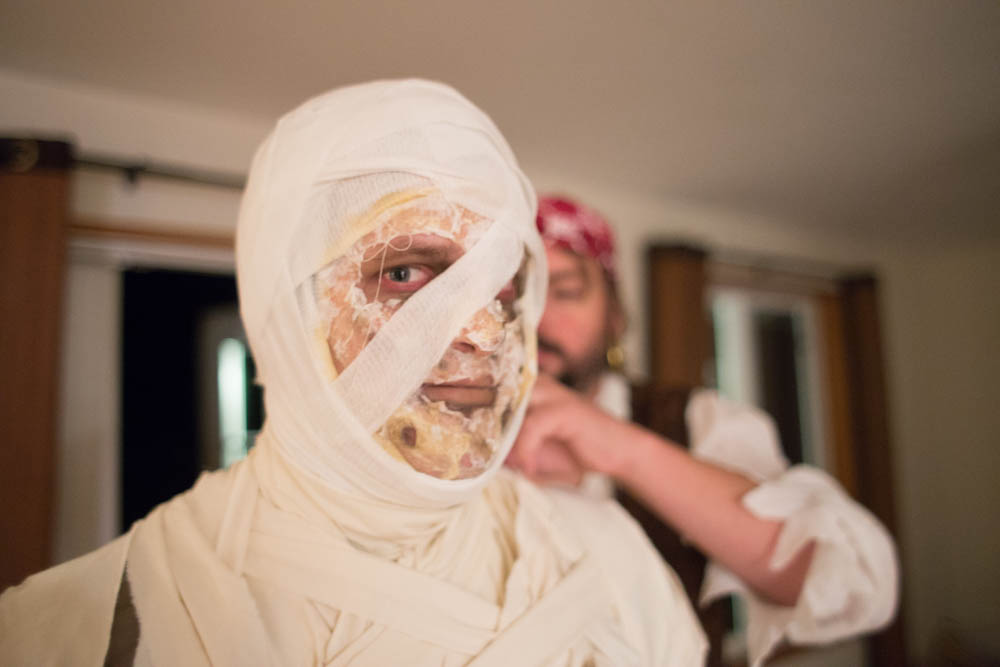 My brother getting mummified!
