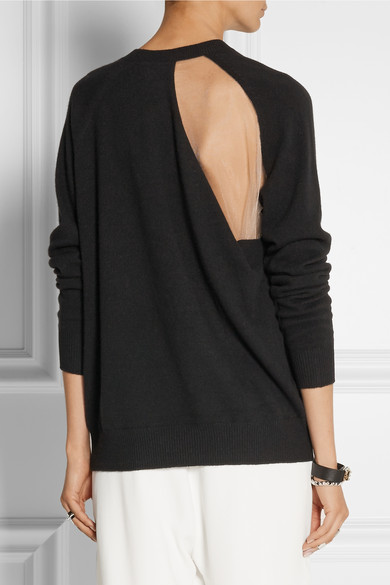 Alexander Wang Cutout Wool-Blend and Mesh Sweater from  Net-a-Porter