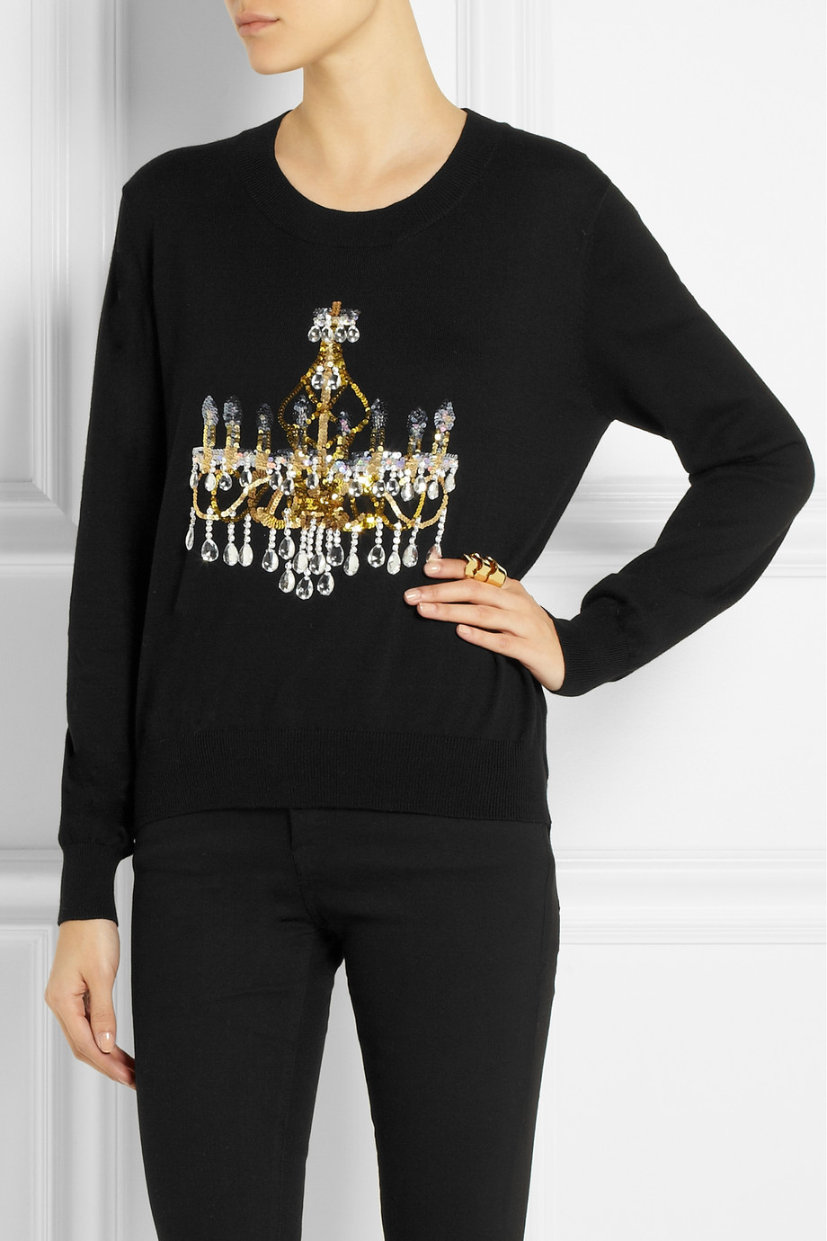 Markus Lupfer Chandelier Sequined Cotton Sweater from  Net-a-Porter
