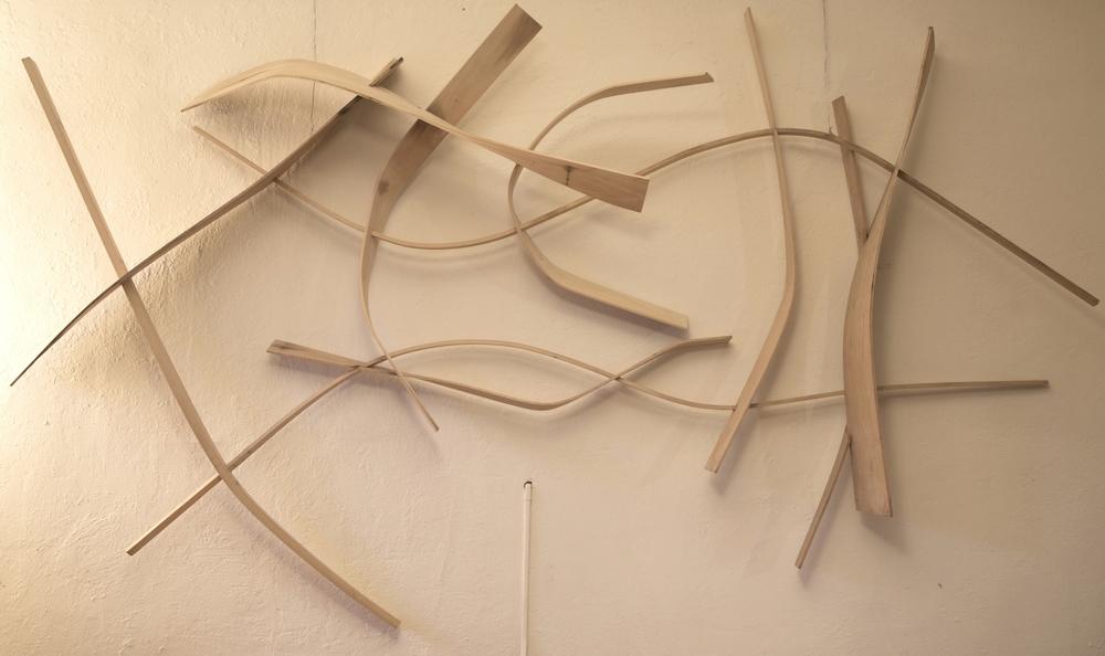 Design and fabrication of bentwood sculpture for Porsche dealership for Oakland's Art Murmur.