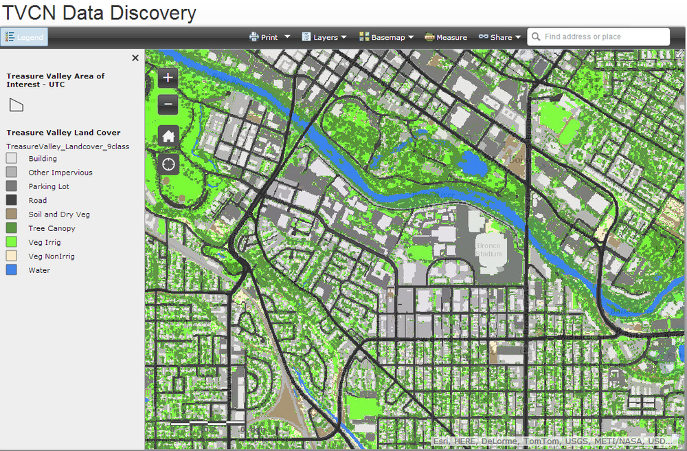 Land cover for area around Boise State University, Ann Morrison Park, Julia Davis Park and Boise's Central Addition.