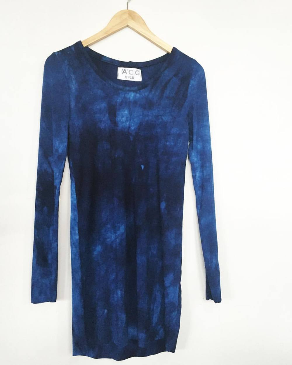 Indigo Long Tee- these are flying off the rack, and we are loving the watery depth of the handdyed indigo color. head to gallery 360 in Minneapolis, or dm us to order yours 💙💙 #handdyed #indigo #longsleeve #independentdesign #slowfashion #aw15 #fw15 #layers #staywarm