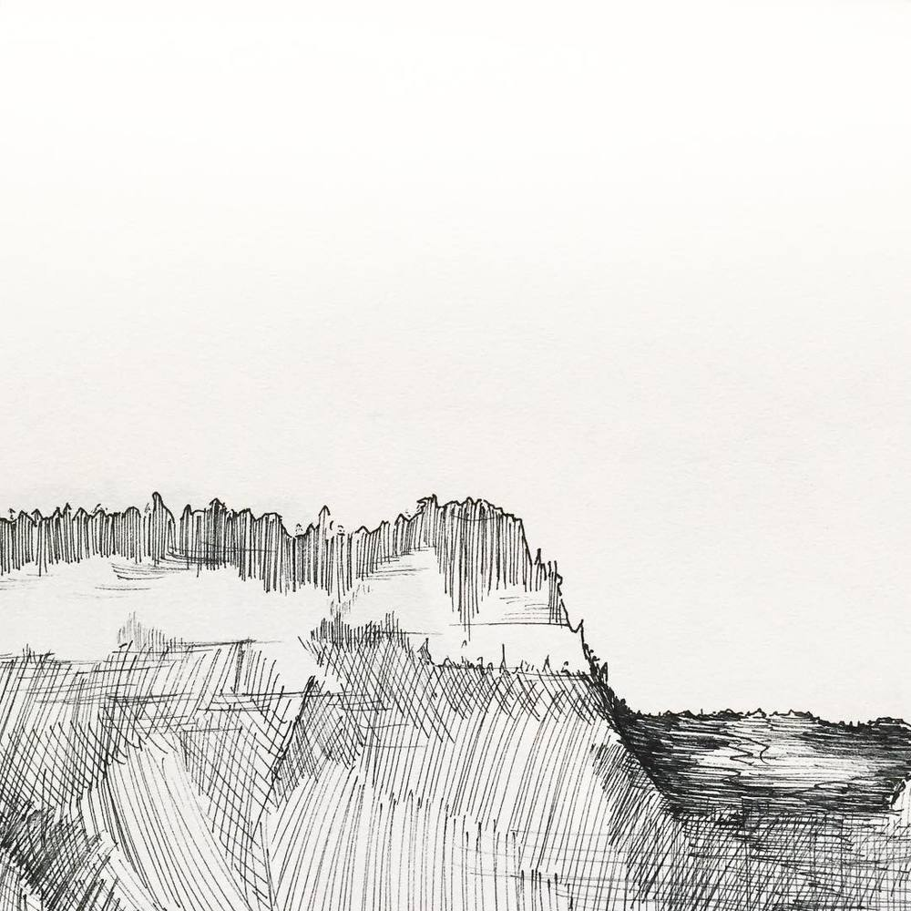 a sketch from our road trip- a mesa in New Mexico #penandink #newmexico #landscape #acgontheroad