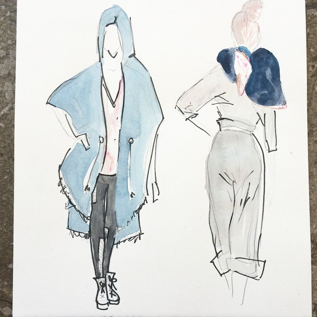 sketching for fall #aw15 #fashionsketch #mplsfashion #handdyed
