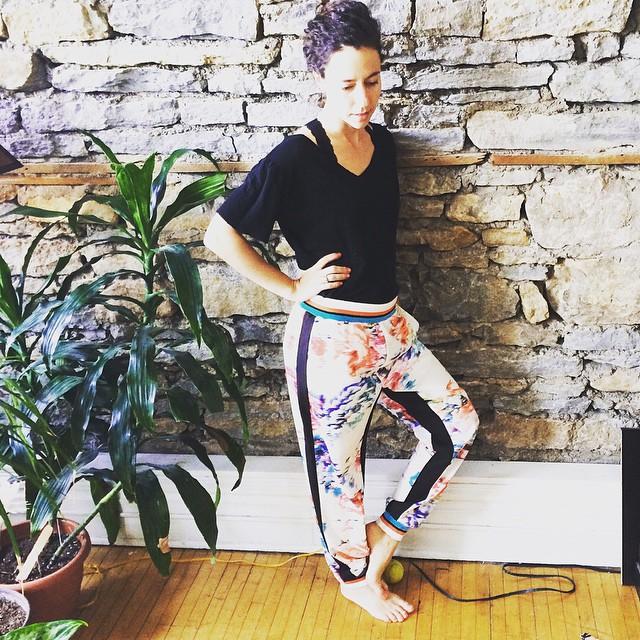 new pants! flowers + sports = yoga?