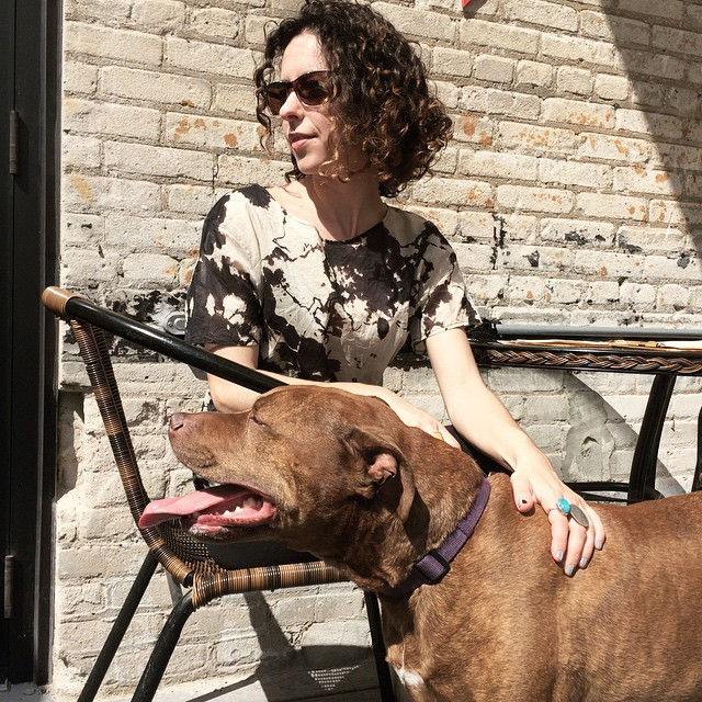 I'm happy about all of this : #misterthedog : new shirt by @karinamanarin from @semblanceboutique : #sunshine : #icehousempls