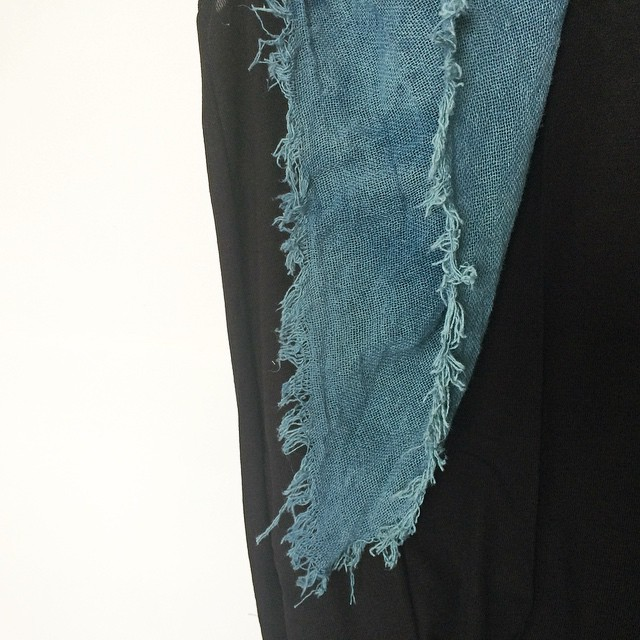RAW INDIGO scarf- exclusively for @gallery360mpls Spring Trunk Show #indigo #rawedge #summerscarf #WATERCITY
