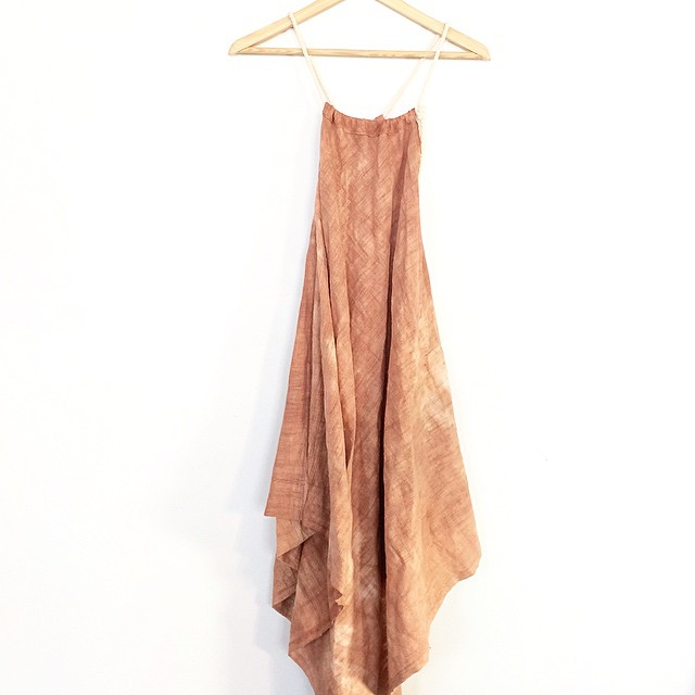 new version of the tie-gathered St Anthony Dress- this time hand-dyed and cut asymmetrically on the bias. #stanthonydress #number2 #onthebias #acg #acgdesigns @showroommpls @gallery360mpls