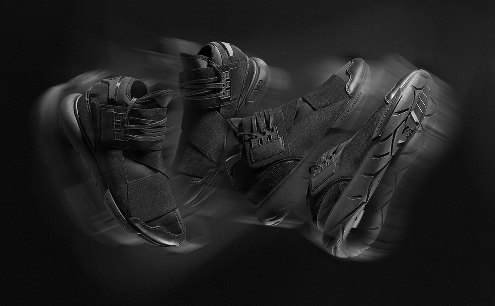Y-3 Qasa High Black  Creative shot toincrease hype and exposure of the eagerly anticipated launch of the Y-3 Qasa High Black