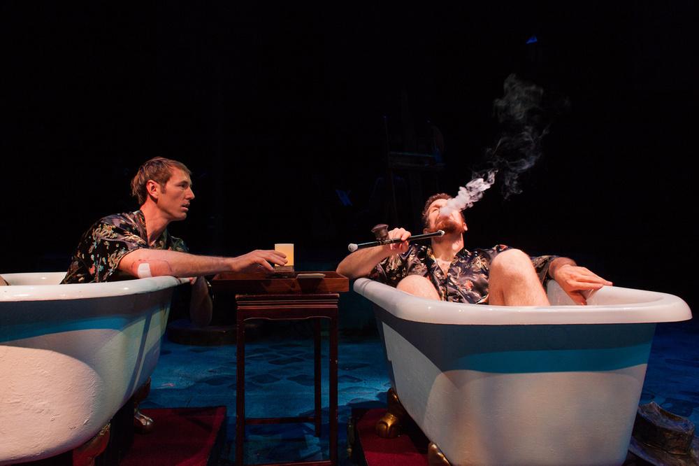 Picasso (Walker Hare) takes Casagemas (Michael Hammond) to an opium den.