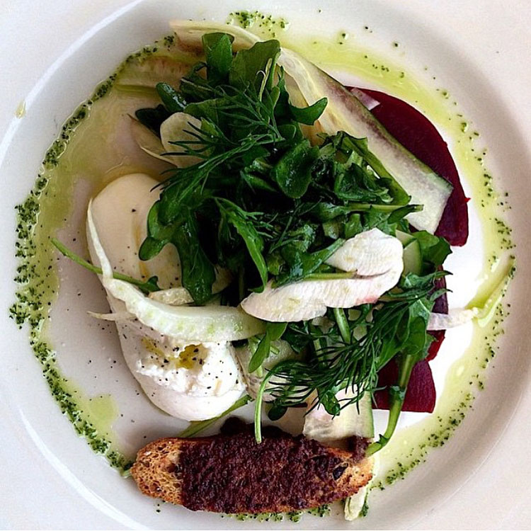 Burrata with beets, shaved spring vegetables, basil, dill and crouton