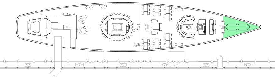 Diagram of the Bow, a private event space at Grand Banks