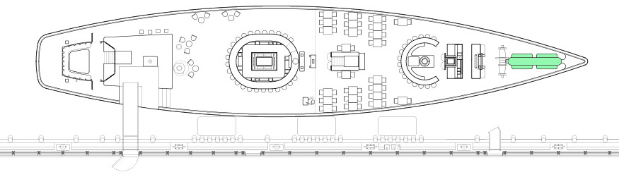 Diagram of the Captain's Table, a private event space at Grand Banks