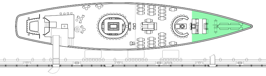 Diagram of the Foredeck, a private event space at Grand Banks